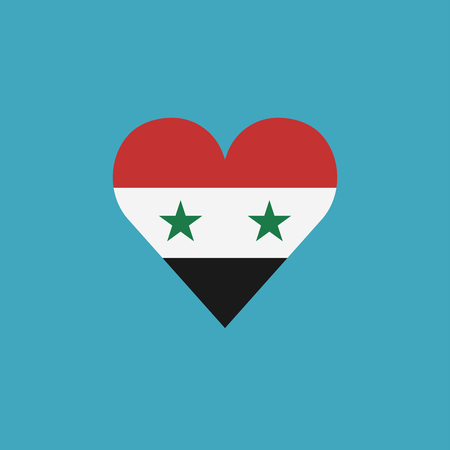 Syria flag icon in a heart shape in flat design. Independence day or National day holiday concept.