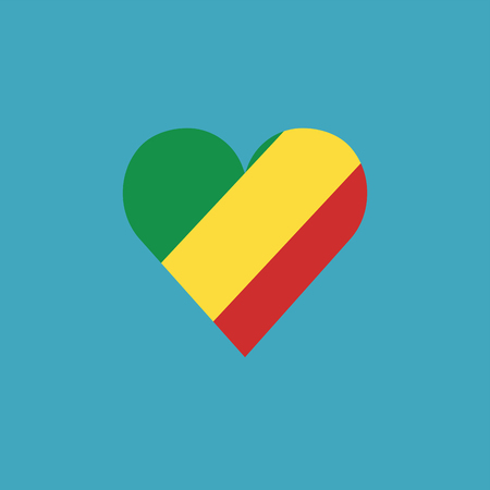 Republic of the Congo flag icon in a heart shape in flat design. Independence day or National day holiday concept. Ilustração
