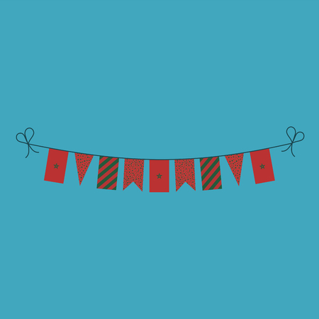 Decorations bunting flags for Morocco national day holiday in flat design. Independence day or National day holiday concept.
