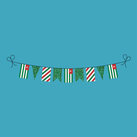 Decorations bunting flags for Abkhazia national day holiday in flat design. Independence day or National day holiday concept.