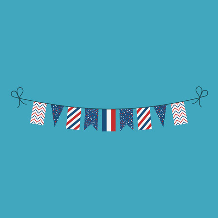 Decorations bunting flags for France national day holiday in flat design. Independence day or National day holiday concept.