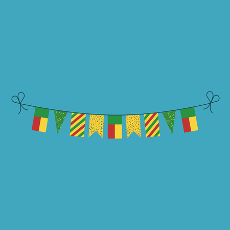 Decorations bunting flags for Benin national day holiday in flat design. Independence day or National day holiday concept. Ilustração