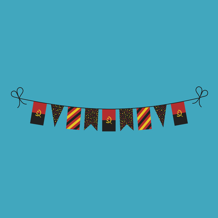 Decorations bunting flags for Angola national day holiday in flat design. Independence day or National day holiday concept.