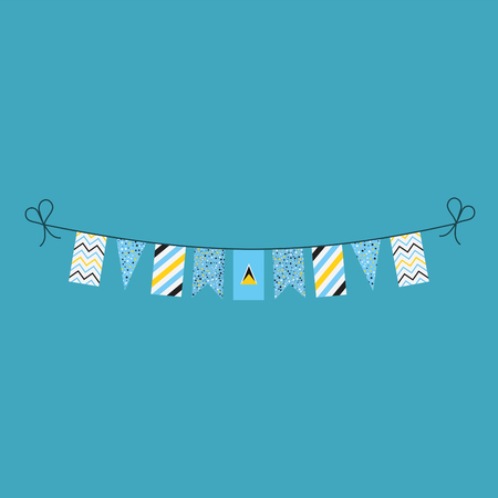 Decorations bunting flags for Saint Lucia national day holiday in flat design. Independence day or National day holiday concept. Ilustração