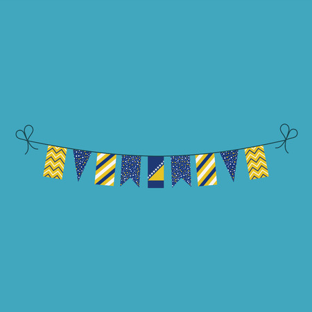 Decorations bunting flags for Bosnia and Herzegovina national day holiday in flat design. Independence day or National day holiday concept. Ilustração