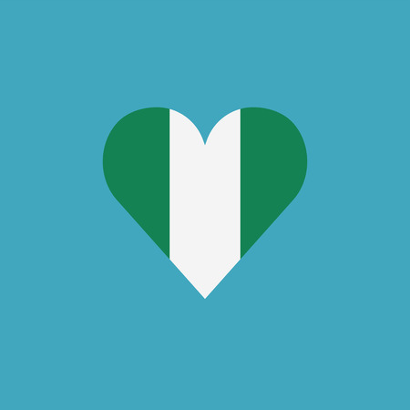 Nigeria flag icon in a heart shape in flat design. Independence day or National day holiday concept. Ilustração