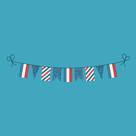 Decorations bunting flags for Luxembourg national day holiday in flat design. Independence day or National day holiday concept.