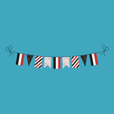 Decorations bunting flags for Yemen national day holiday in flat design. Independence day or National day holiday concept.