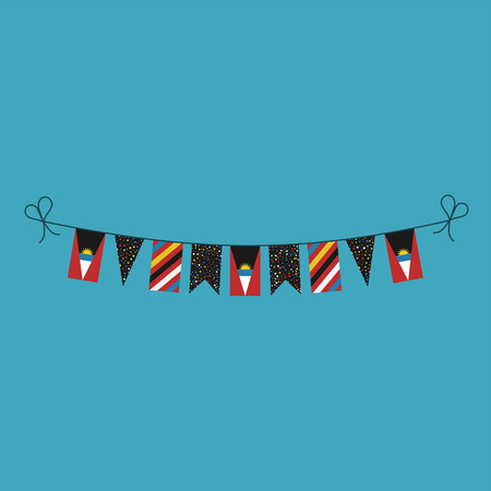 Decorations bunting flags for Antigua and Barbuda national day holiday in flat design. Independence day or National day holiday concept. Ilustração