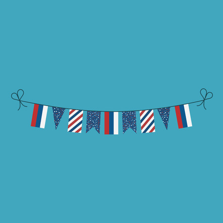 Decorations bunting flags for Russia national day holiday in flat design. Independence day or National day holiday concept.