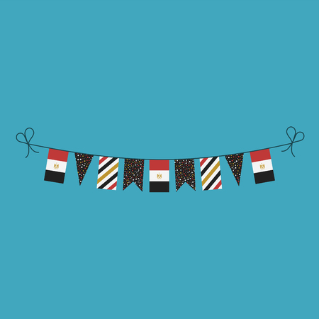Decorations bunting flags for Egypt national day holiday in flat design. Independence day or National day holiday concept.
