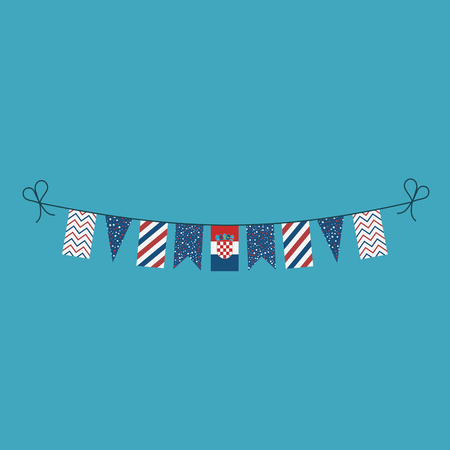 Decorations bunting flags for Croatia national day holiday in flat design. Independence day or National day holiday concept.