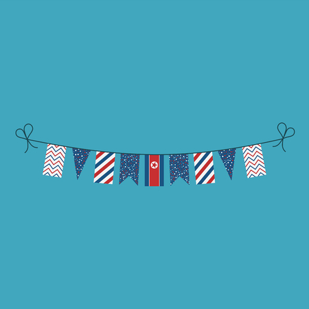 Decorations bunting flags for North Korea national day holiday in flat design. Independence day or National day holiday concept. Ilustração
