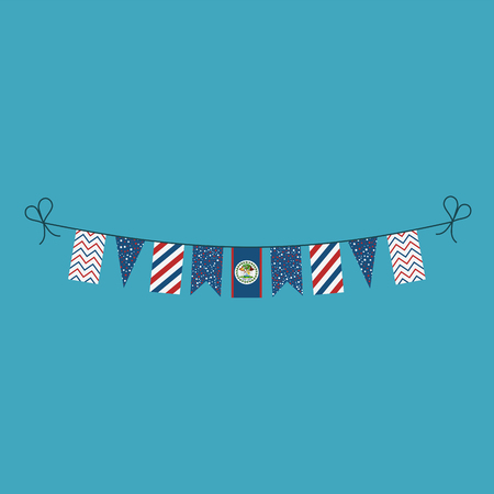 Decorations bunting flags for Belize national day holiday in flat design. Independence day or National day holiday concept. Ilustração