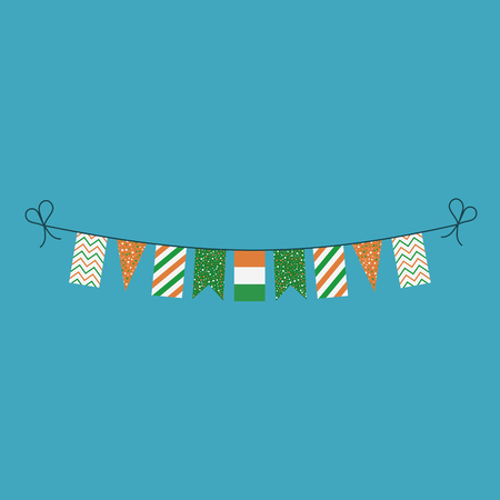 Decorations bunting flags for Ivory Coast national day holiday in flat design. Independence day or National day holiday concept.