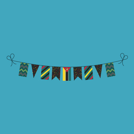 Decorations bunting flags for Mozambique national day holiday in flat design. Independence day or National day holiday concept. Illustration