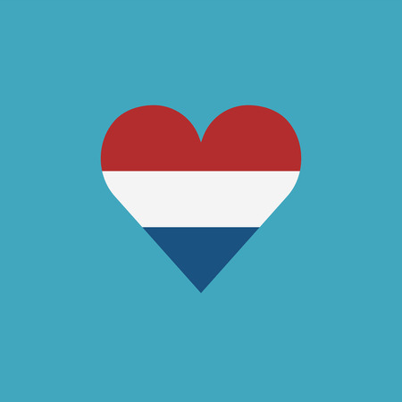 Netherlands flag icon in a heart shape in flat design. Independence day or National day holiday concept.