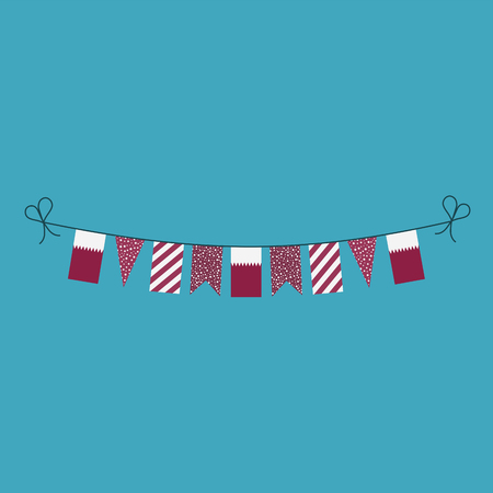 Decorations bunting flags for Qatar national day holiday in flat design. Independence day or National day holiday concept.