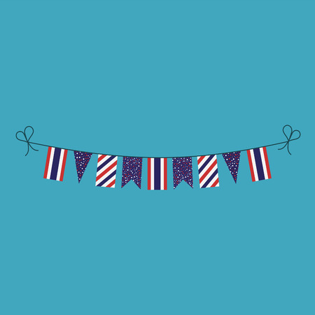 Decorations bunting flags for Thailand national day holiday in flat design. Independence day or National day holiday concept.