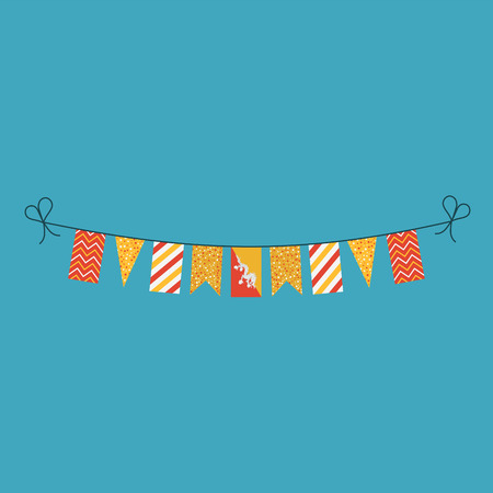 Decorations bunting flags for Bhutan national day holiday in flat design. Independence day or National day holiday concept. Illustration