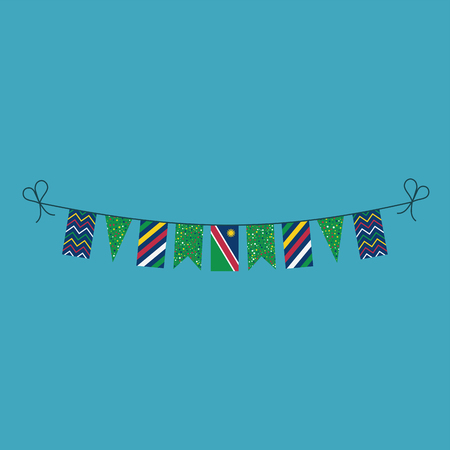 Decorations bunting flags for Namibia national day holiday in flat design. Independence day or National day holiday concept. Illustration