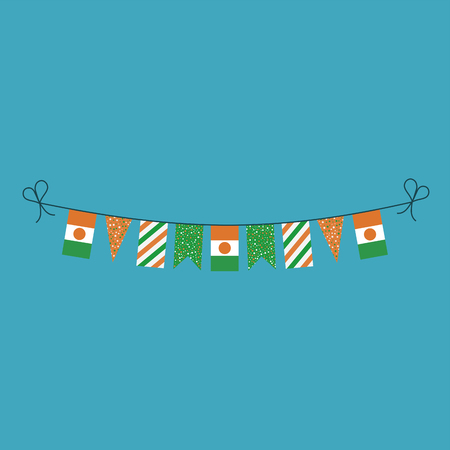 Decorations bunting flags for Niger national day holiday in flat design. Independence day or National day holiday concept.