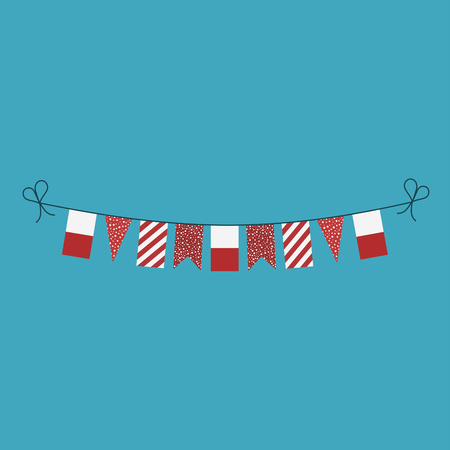 Decorations bunting flags for Poland national day holiday in flat design. Independence day or National day holiday concept.