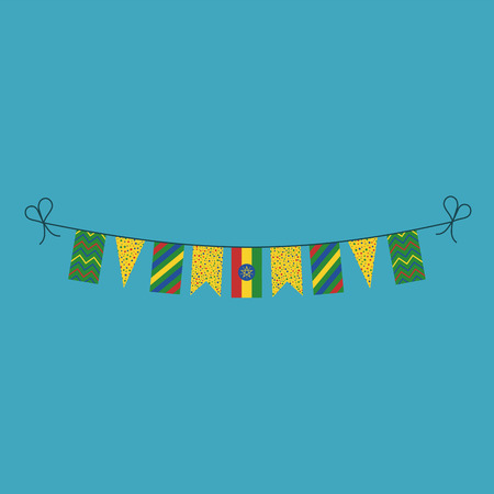 Decorations bunting flags for Ethiopia national day holiday in flat design. Independence day or National day holiday concept. Ilustração