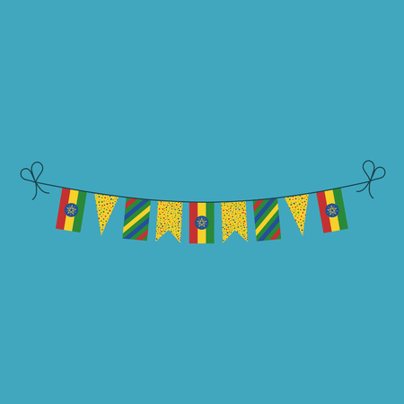 Decorations bunting flags for Ethiopia national day holiday in flat design. Independence day or National day holiday concept. Illustration