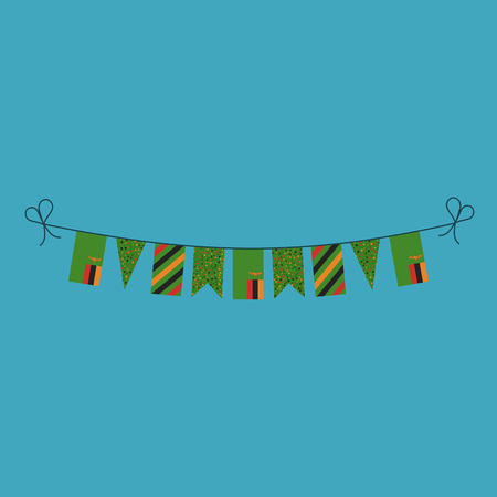 Decorations bunting flags for Zambia national day holiday in flat design. Independence day or National day holiday concept. Illustration