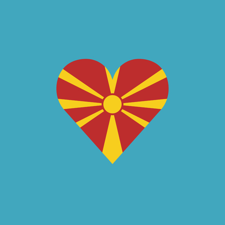 Macedonia flag icon in a heart shape in flat design. Independence day or National day holiday concept.