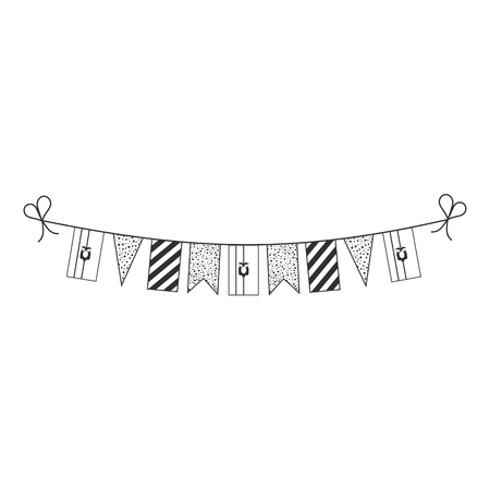 Decorations bunting flags for Ecuador national day holiday in black outline flat design. Independence day or National day holiday concept. Vector Illustration