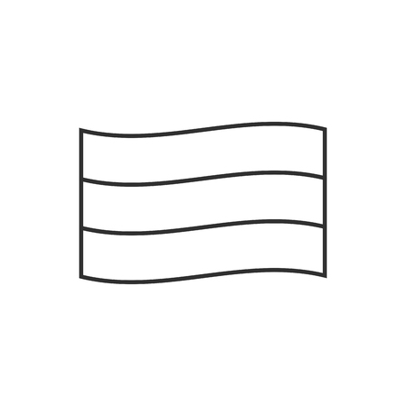 Horizontal triband country flag icon in black outline flat design. Independence day or National day holiday concept.