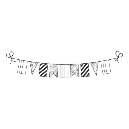 Decorations bunting flags for Colombia national day holiday in black outline flat design. Independence day or National day holiday concept. Ilustração