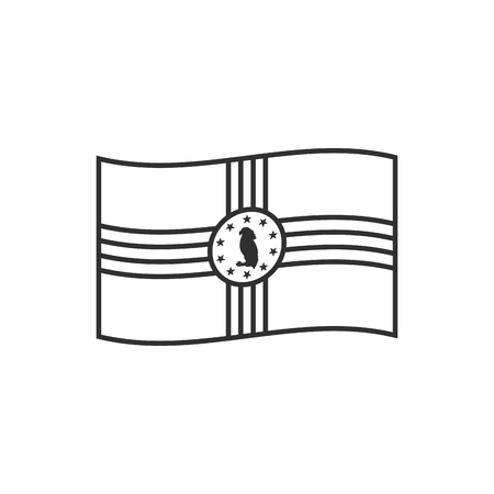 Dominica flag icon in black outline flat design. Independence day or National day holiday concept.