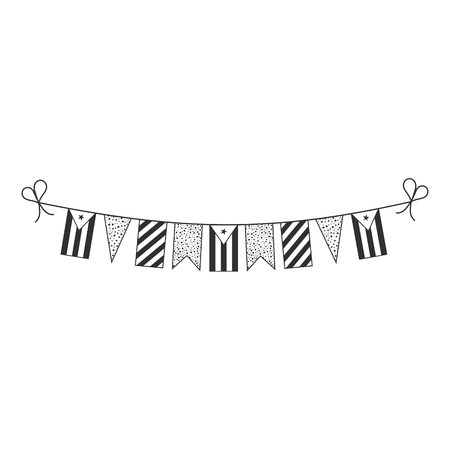Decorations bunting flags for Cuba national day holiday in black outline flat design. Independence day or National day holiday concept.