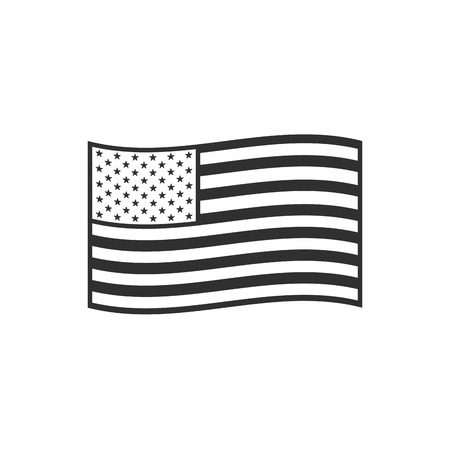 United States flag icon in black outline flat design. Independence day or National day holiday concept. Vectores