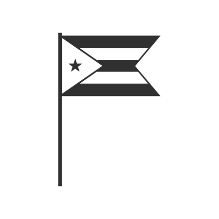 Cuba flag icon in black outline flat design. Independence day or National day holiday concept.