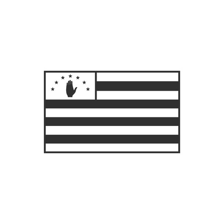 Abkhazia flag icon in black outline flat design. Independence day or National day holiday concept.
