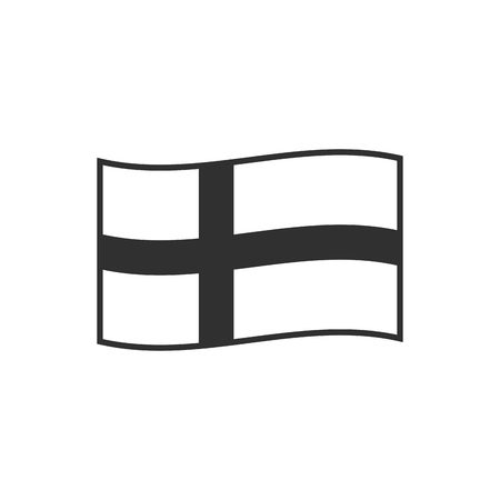 Sweden or Denmark or Finland flag icon in black outline flat design. Independence day or National day holiday concept.  イラスト・ベクター素材