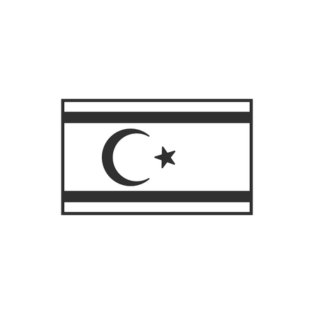 Northern Cyprus flag icon in black outline flat design. Independence day or National day holiday concept.