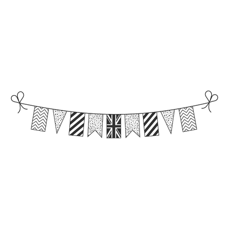 Decorations bunting flags for United Kingdom national day holiday in black outline flat design. Independence day or National day holiday concept.