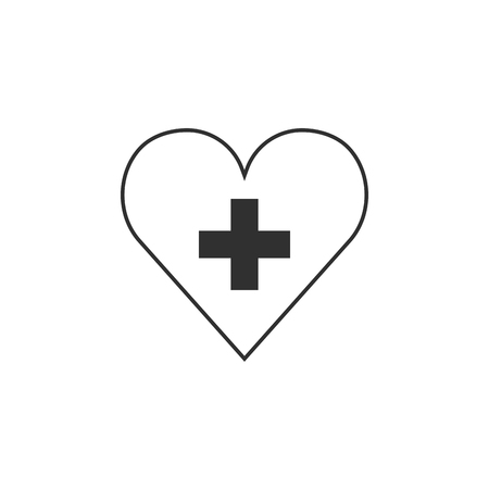 Switzerland flag icon in a heart shape in black outline flat design. Independence day or National day holiday concept.