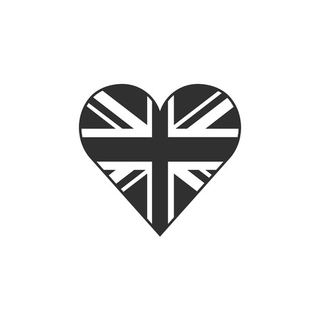 United Kingdom flag icon in a heart shape in black outline flat design. Independence day or National day holiday concept. Illusztráció