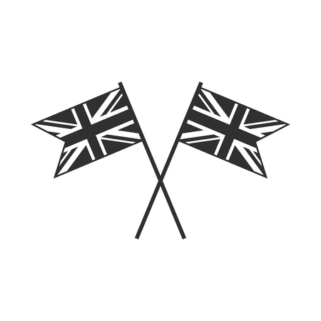 United Kingdom flag icon in black outline flat design. Independence day or National day holiday concept.
