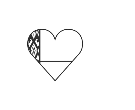 Belarus flag icon in a heart shape in black outline flat design. Independence day or National day holiday concept.