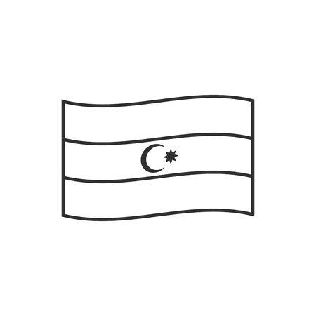 Azerbaijan flag icon in black outline flat design. Independence day or National day holiday concept. Illustration