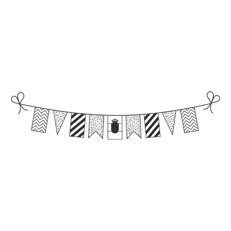 Decorations bunting flags for Serbia national day holiday in black outline flat design. Independence day or National day holiday concept. Ilustração
