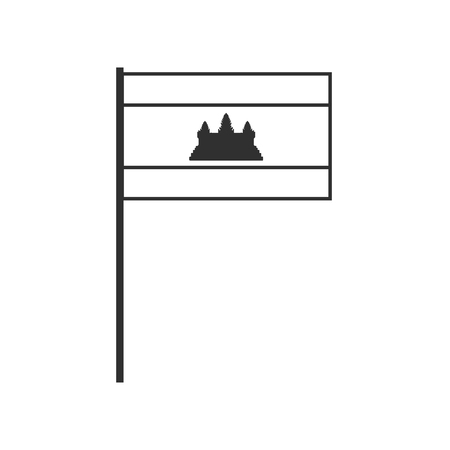 Cambodia flag icon in black outline flat design. Independence day or National day holiday concept. 向量圖像