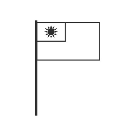 Taiwan flag icon in black outline flat design. Independence day or National day holiday concept.